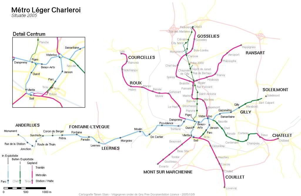 Mapa metro de Charleroi