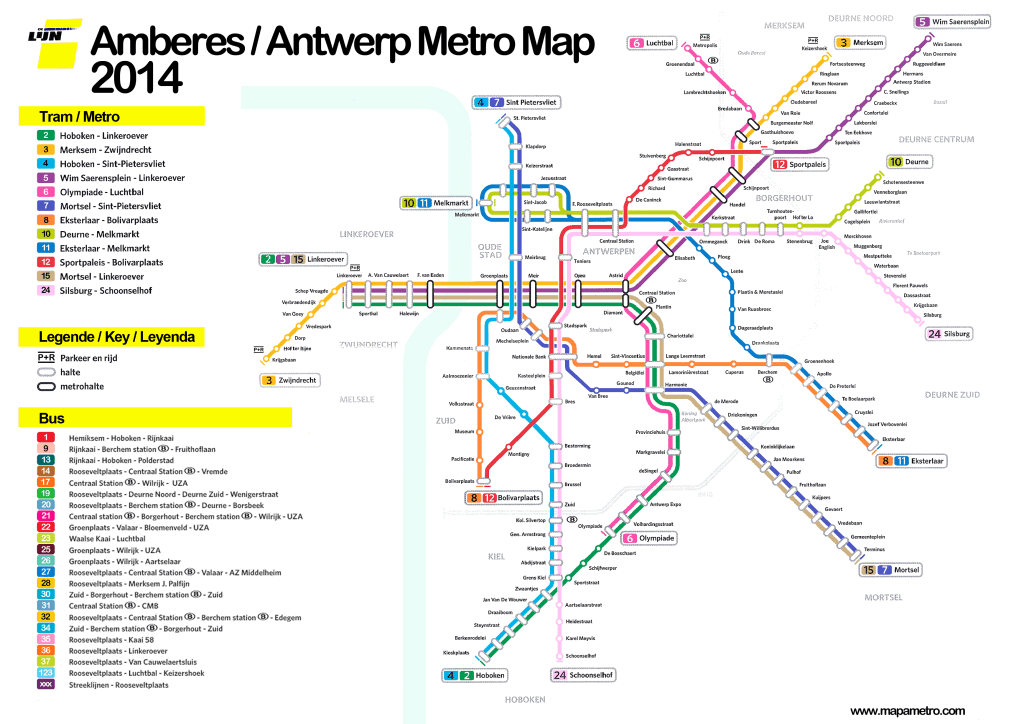Mapa metro Amberes (Antwerp)