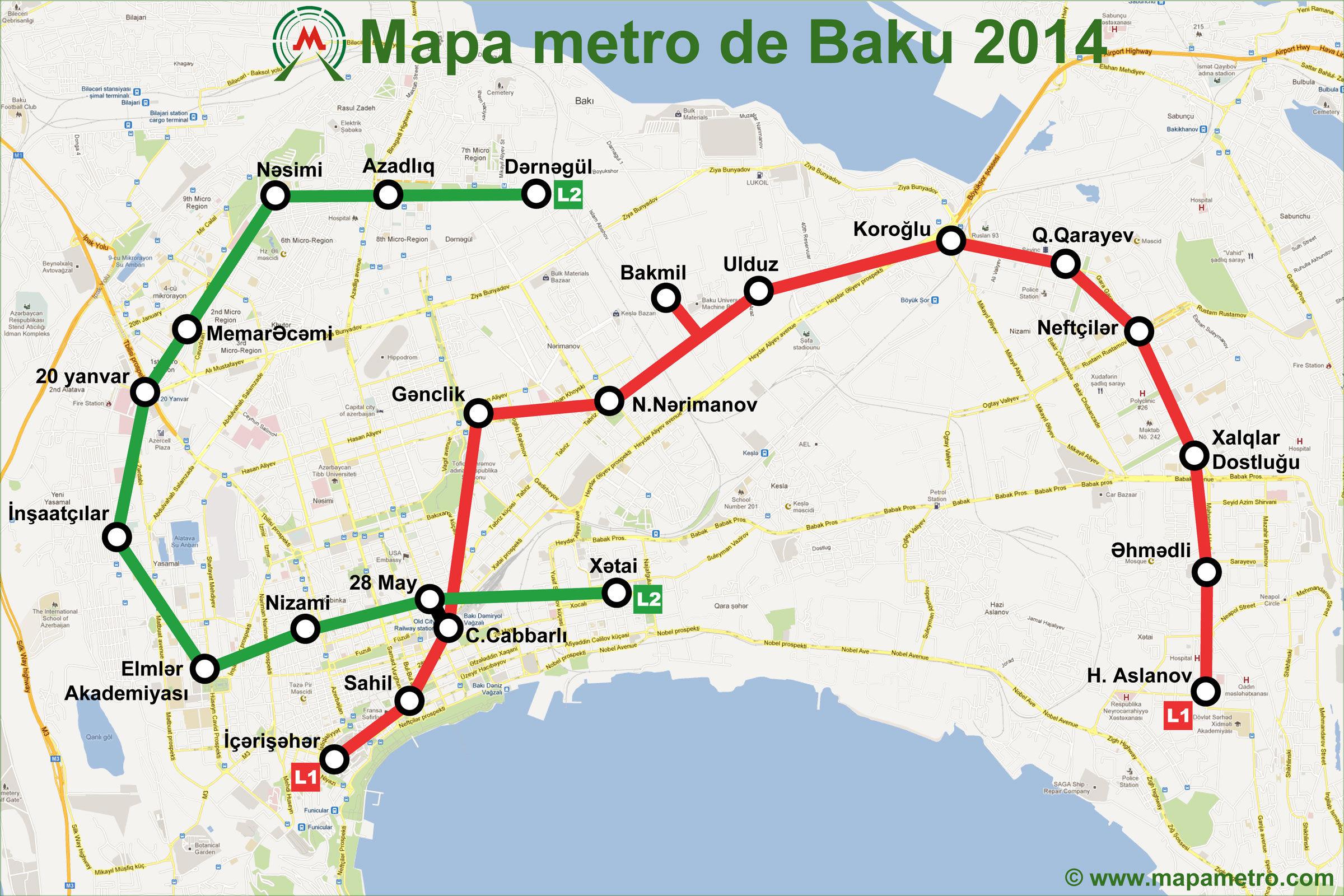Azerbaijan Mapa Metro - Where is baku