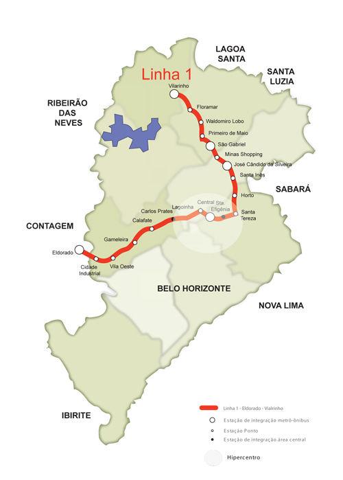 Mapa metro de Belo Horizonte