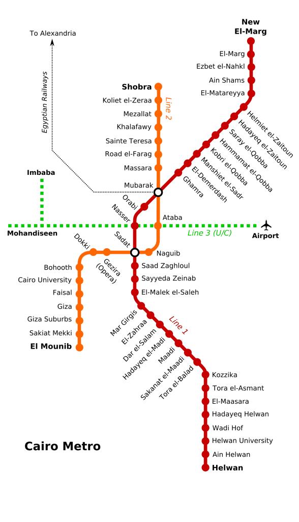 Mapa metro de El Cairo
