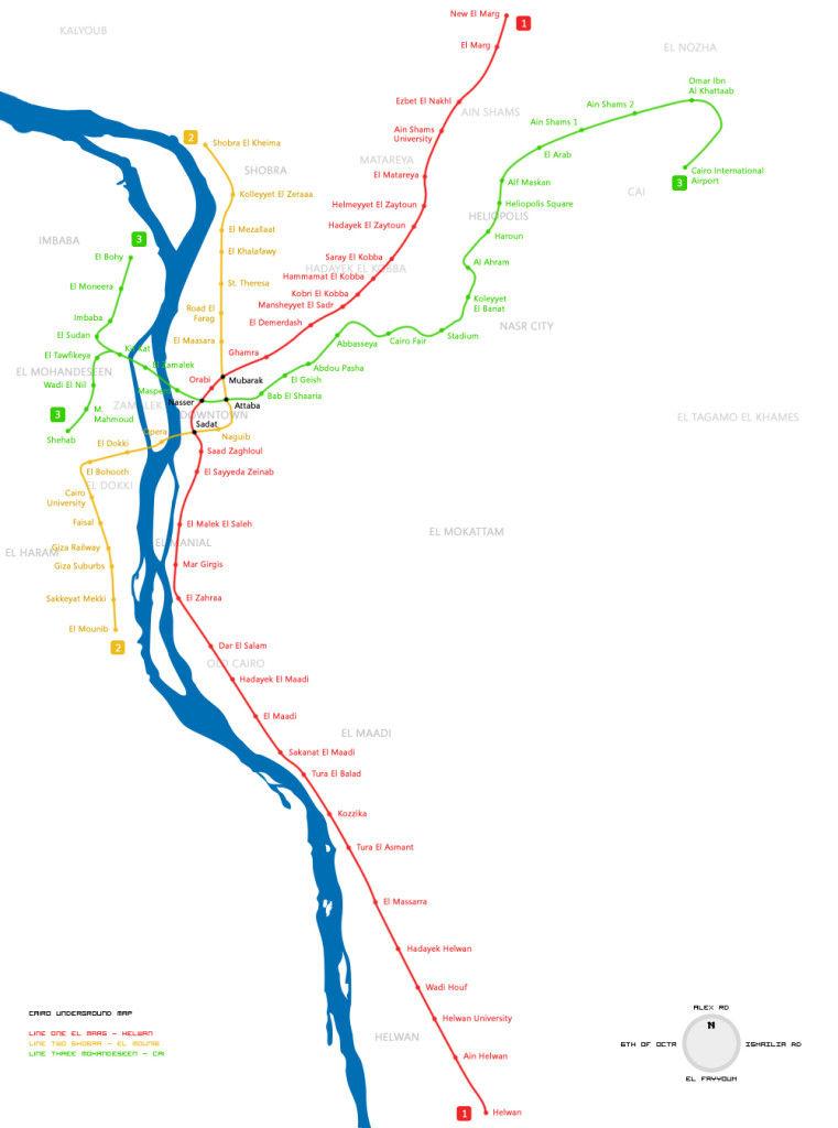 Mapa sobre el metro de la capital de Egipto, El Cairo, desde el punto de vista topográfico real