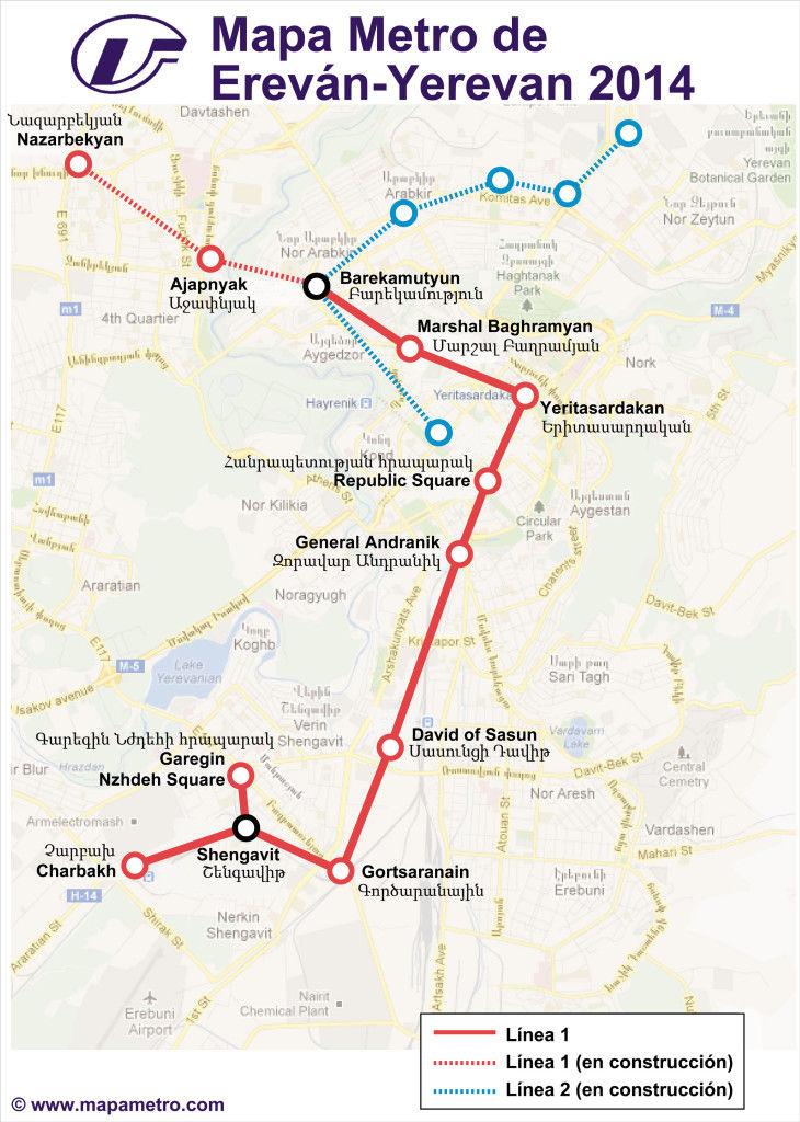 Mapa metro de Erevan (Yerevan) en Armenia