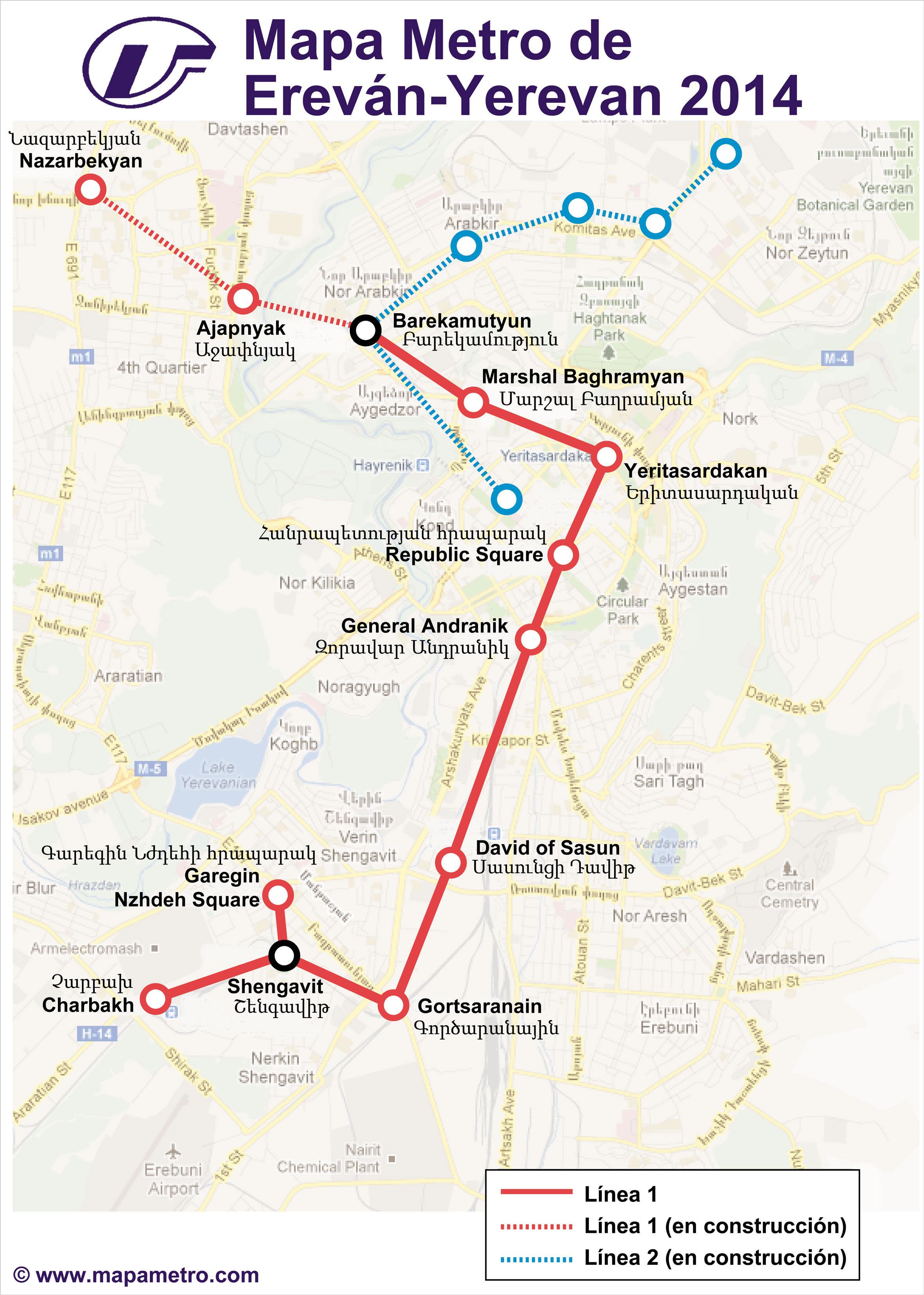 Map of Yerevan metro Yerevan Metro Mapa Metro