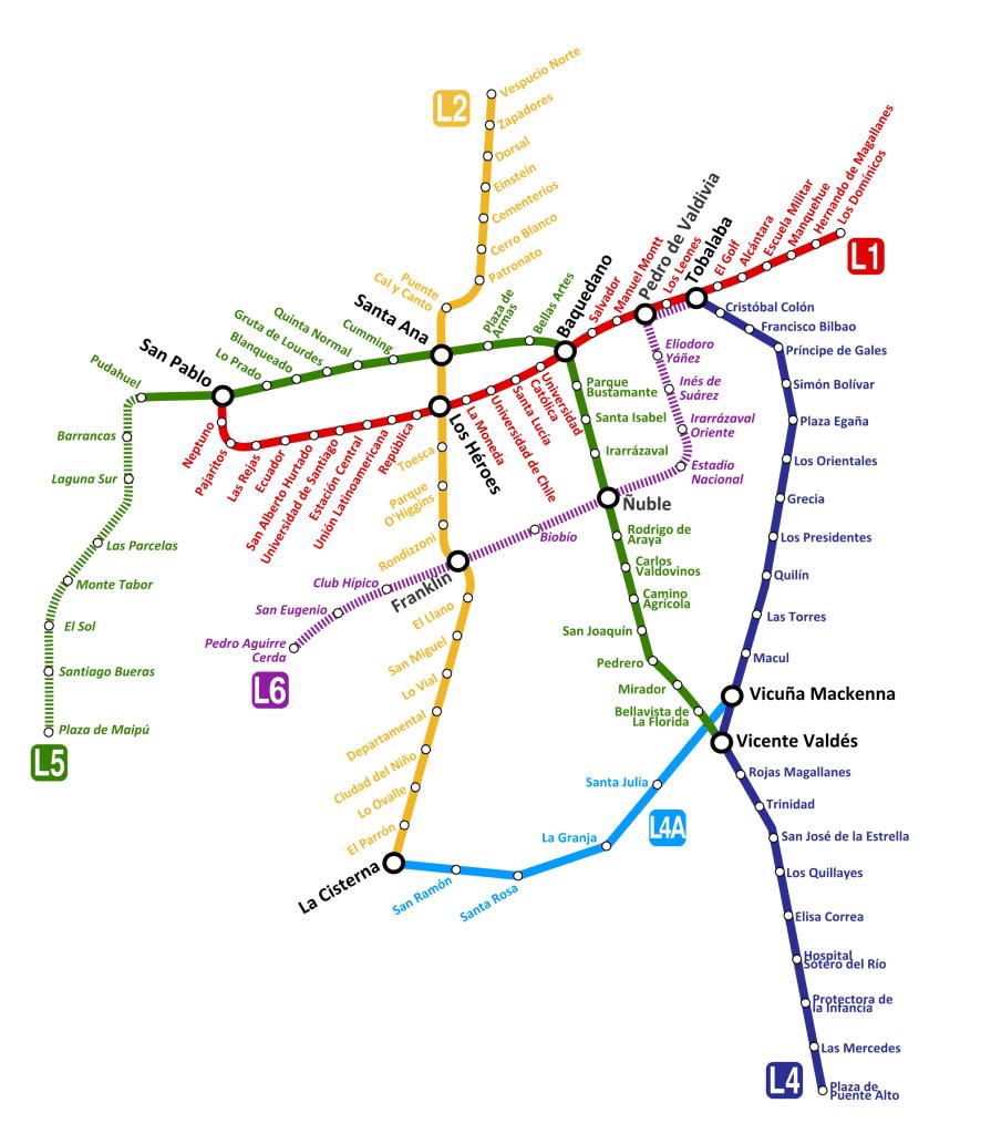 Mapa metro de Santiago