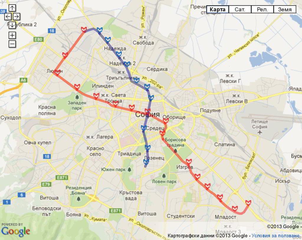 Mapa metro de Sofía