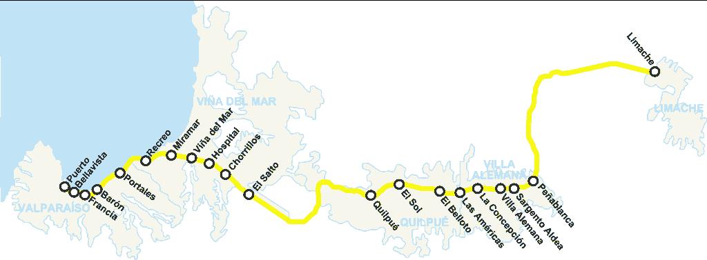 Mapa metro de Valparaiso