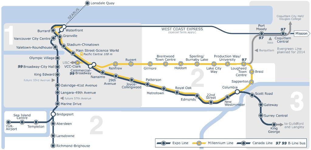 Mapa metro de Vancouver