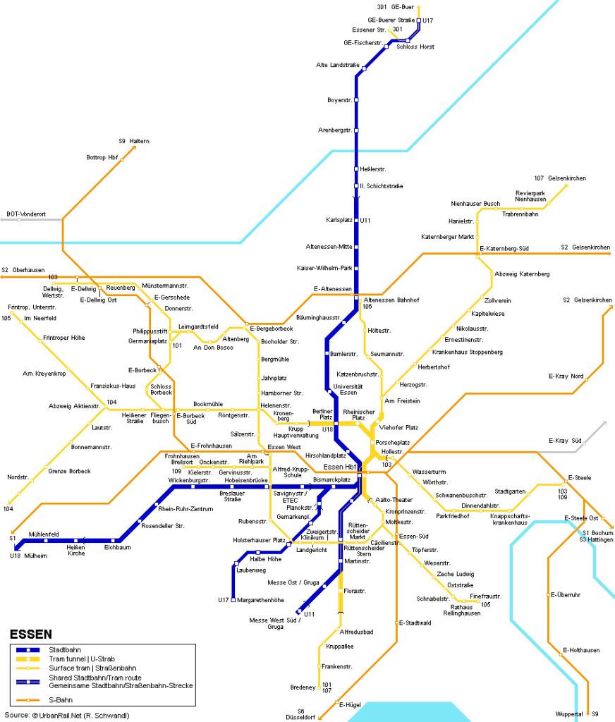 Mapa metro Essen 2