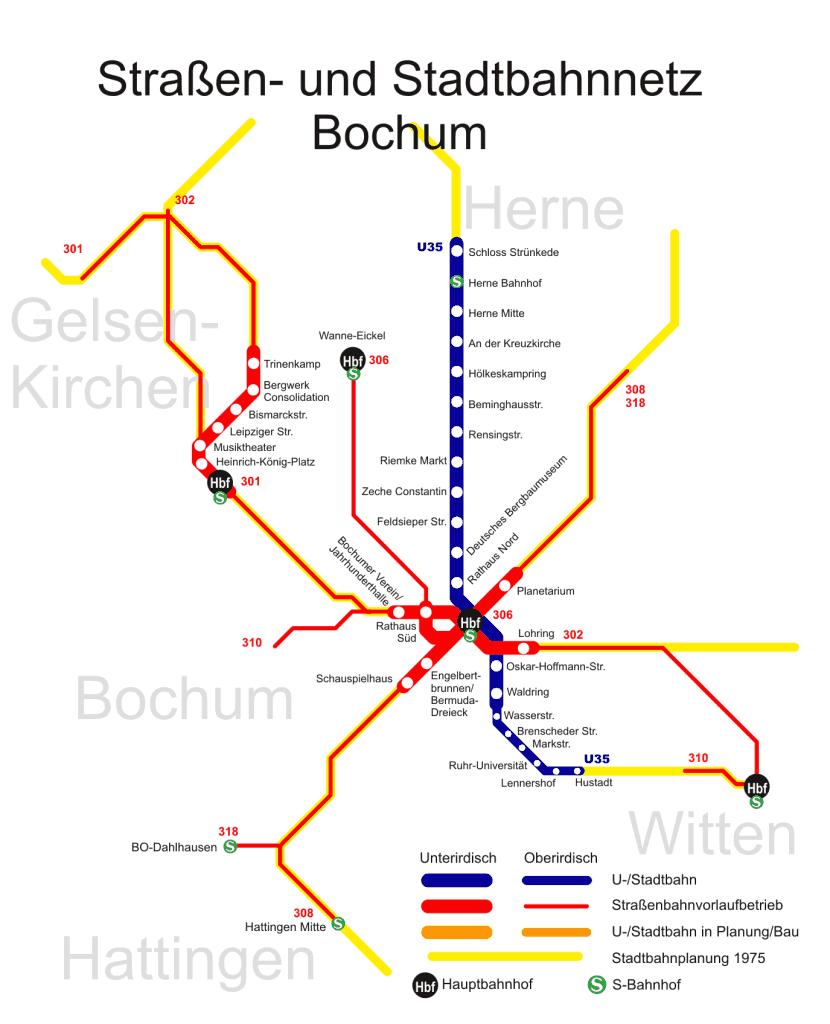 Mapa metro Bochum 3