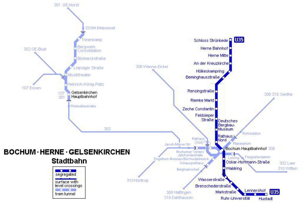 Mapa metro Bochum 1 b