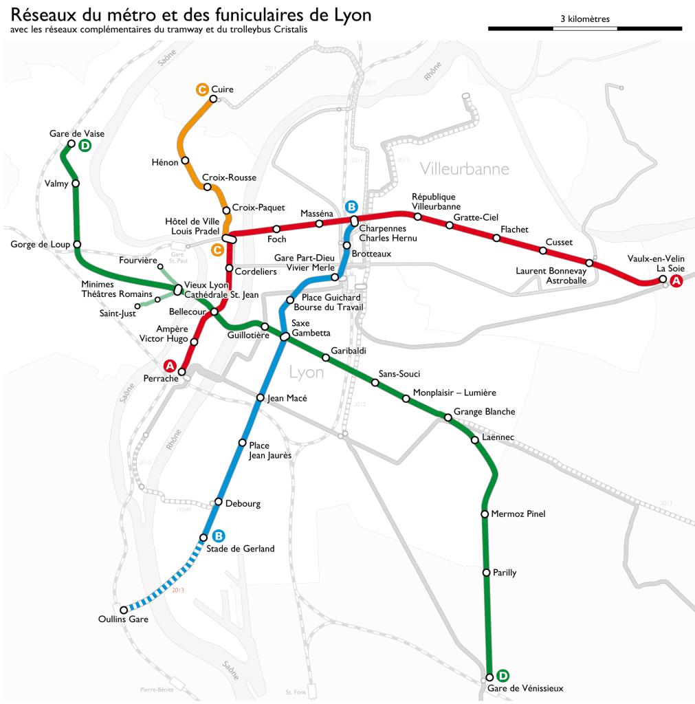 Mapa metro Lyon 1