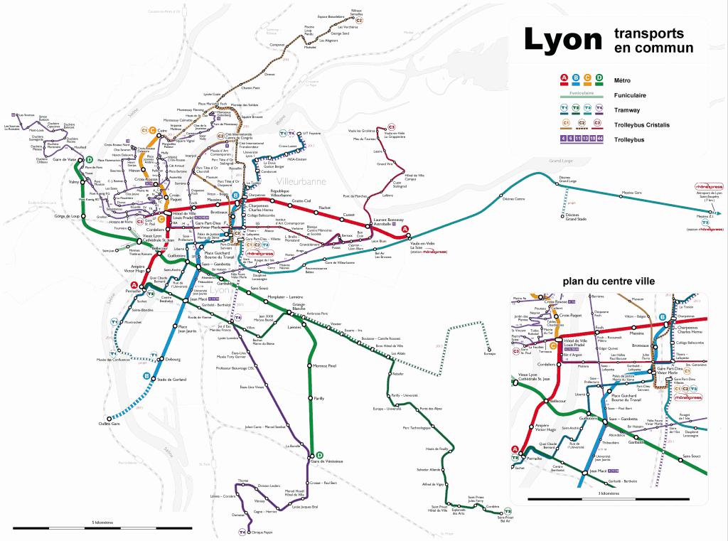 Mapa metro Lyon 2