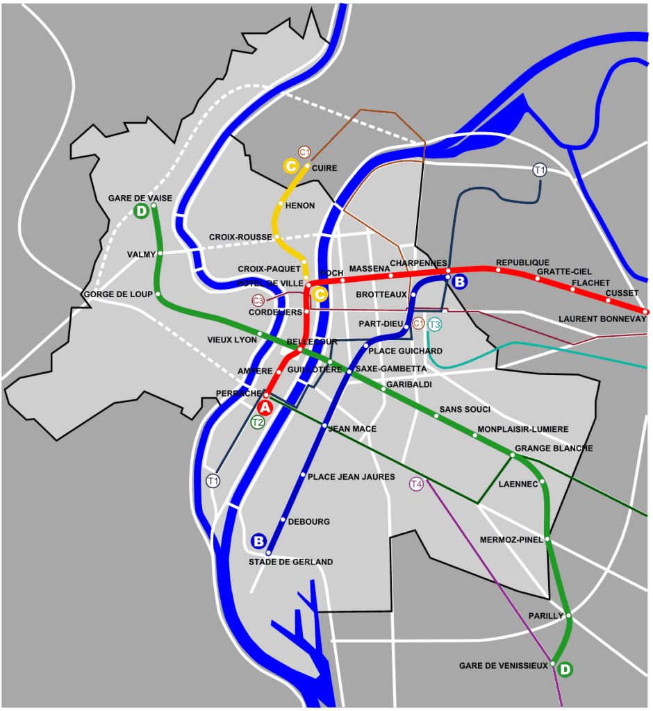 Mapa metro Lyon 3