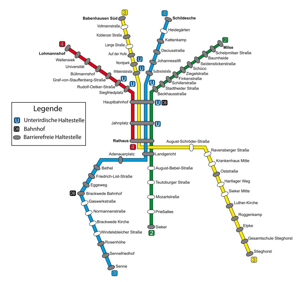 Mapa metro Bielefeld 1