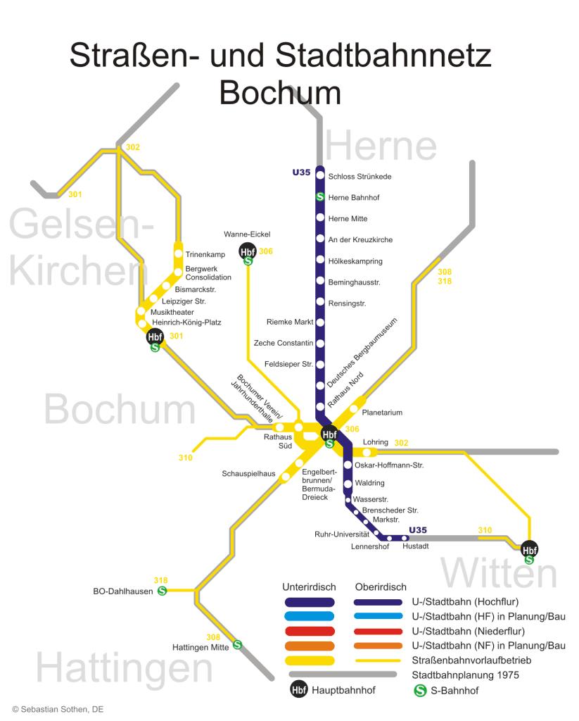 Mapa metro Bochum 4