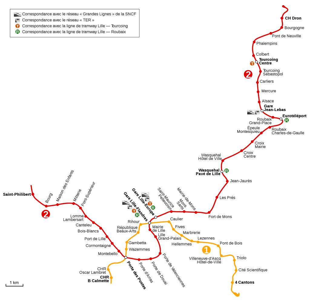 Mapa metro Lille (Lille Metro) 1