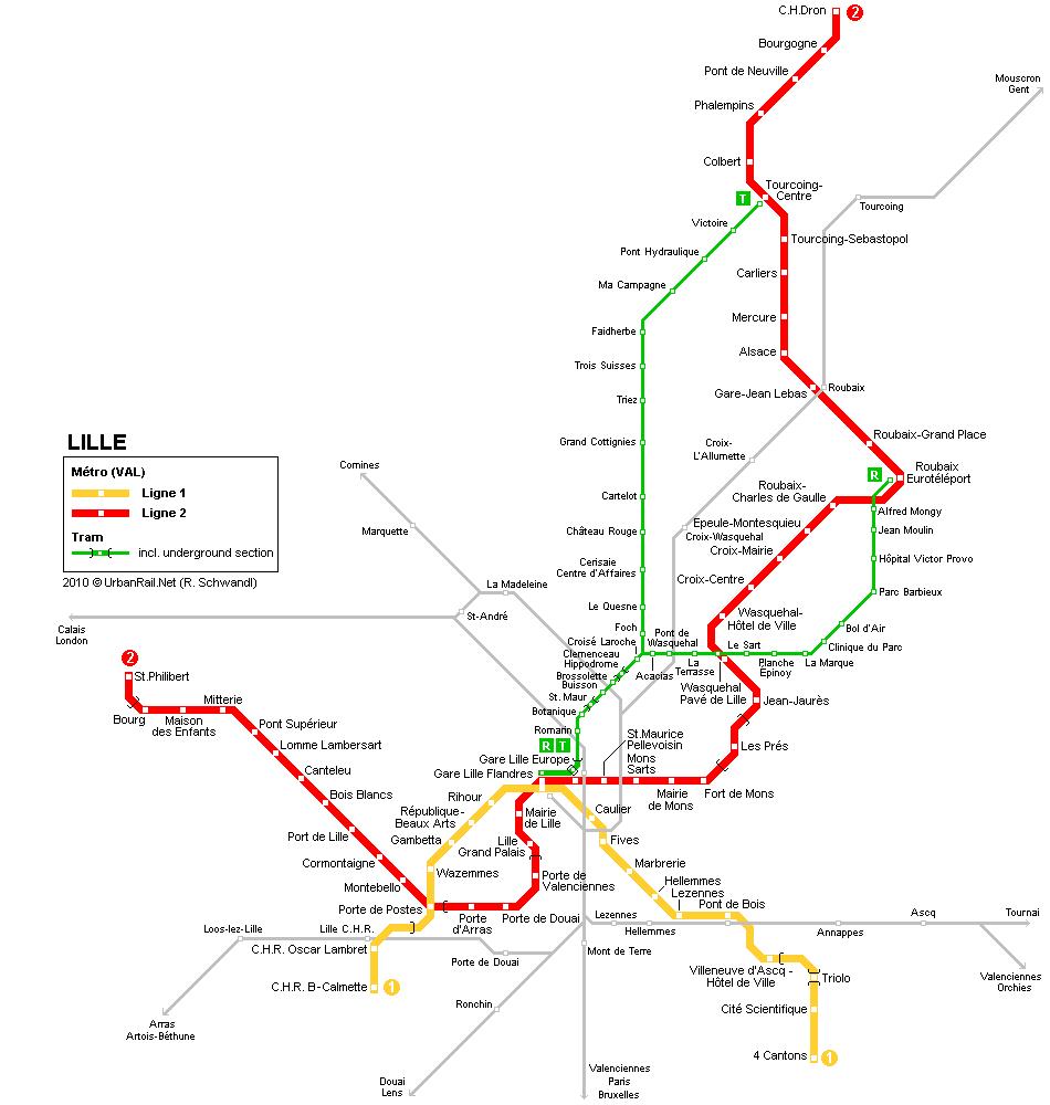 Mapa metro Lille (Lille Metro) 3