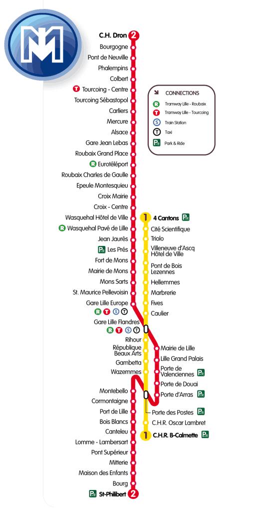 Mapa metro Lille (Lille Metro) 4