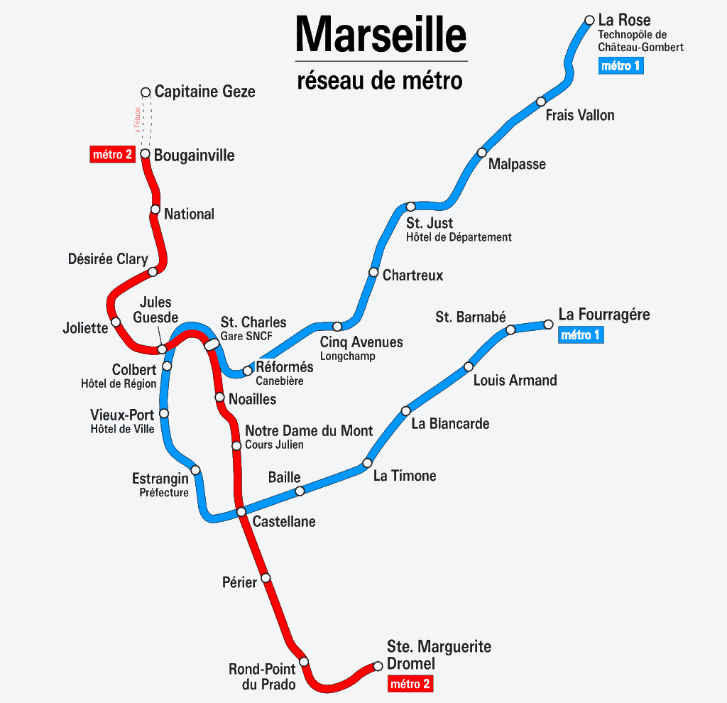 Mapa metro Marsella 1