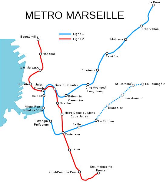 Mapa metro Marsella 2