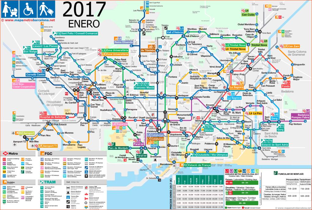 Mapa del metro de Barcelona, 2017, para discapacitados