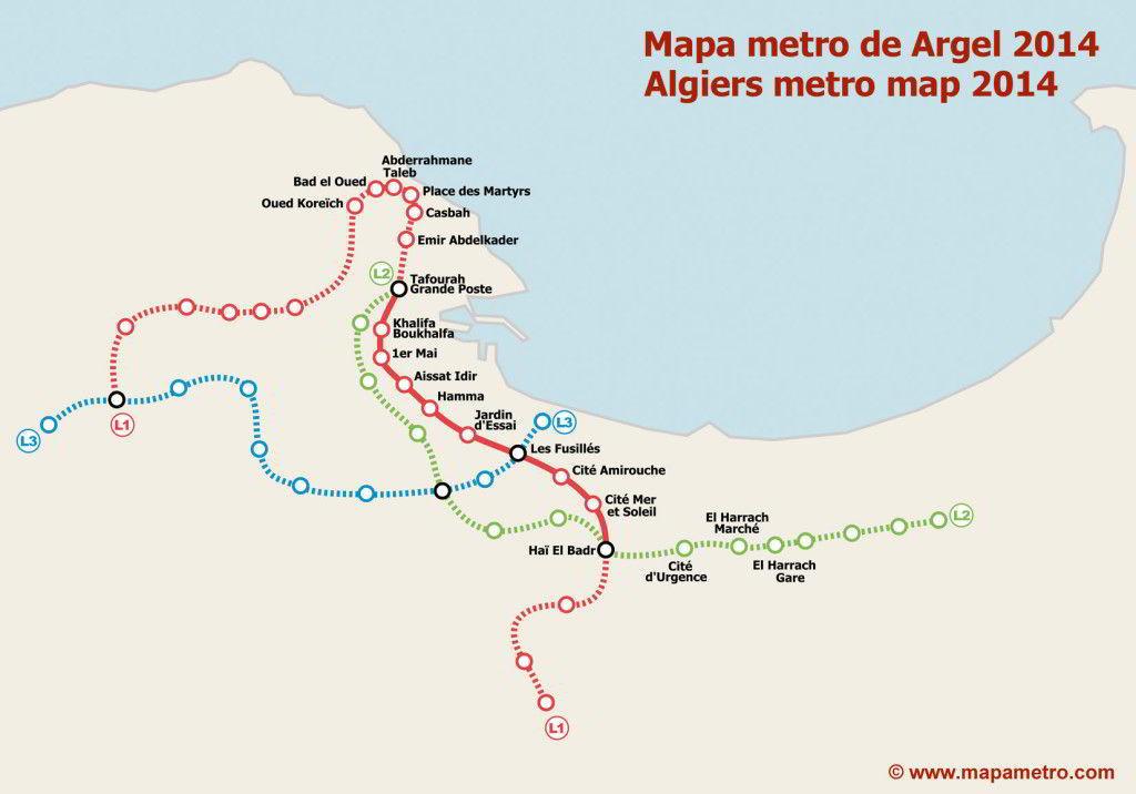 Χάρτης Μετρό Αλγέρι