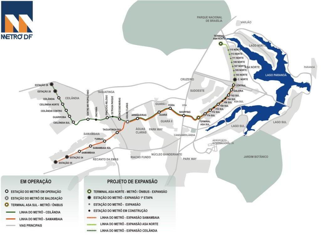 Mapa metro Brasilia