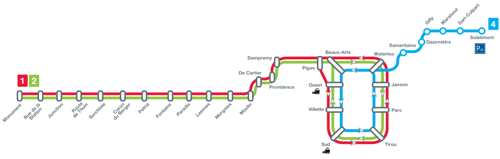 Charleroi metro map