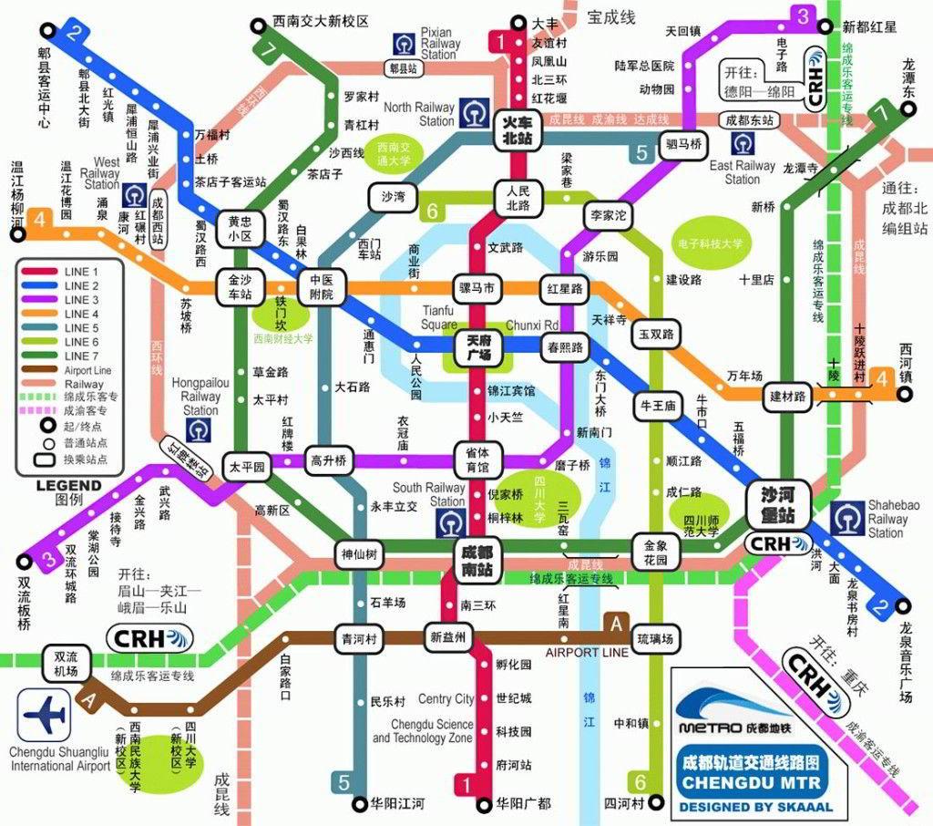 Mapa metra w Chengdu