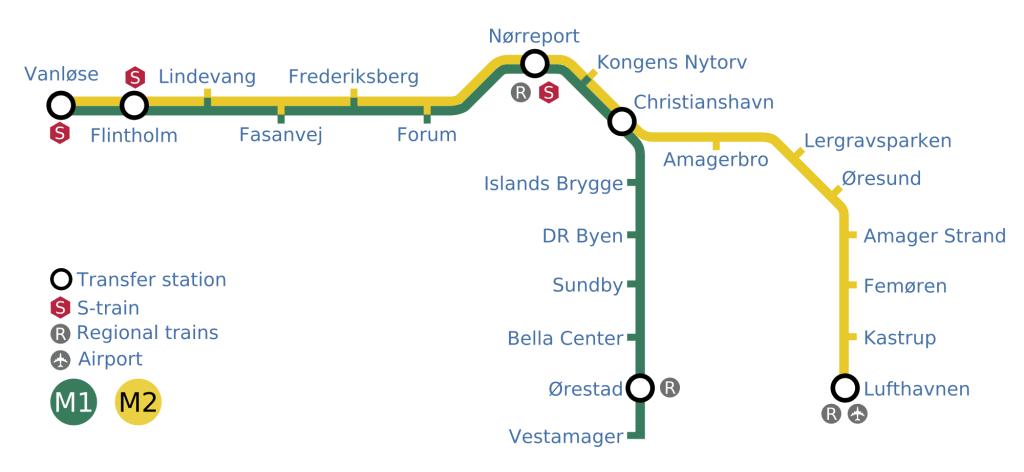 지도 메트로 코펜하겐