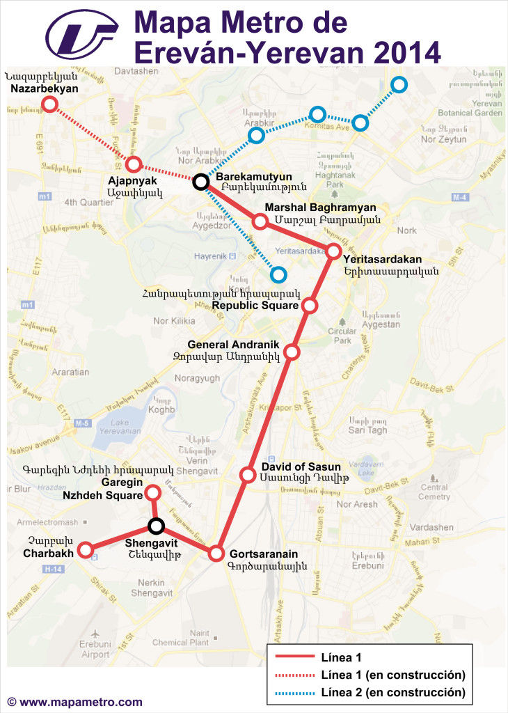Map of Yerevan metro (Yerevan) in Armenia