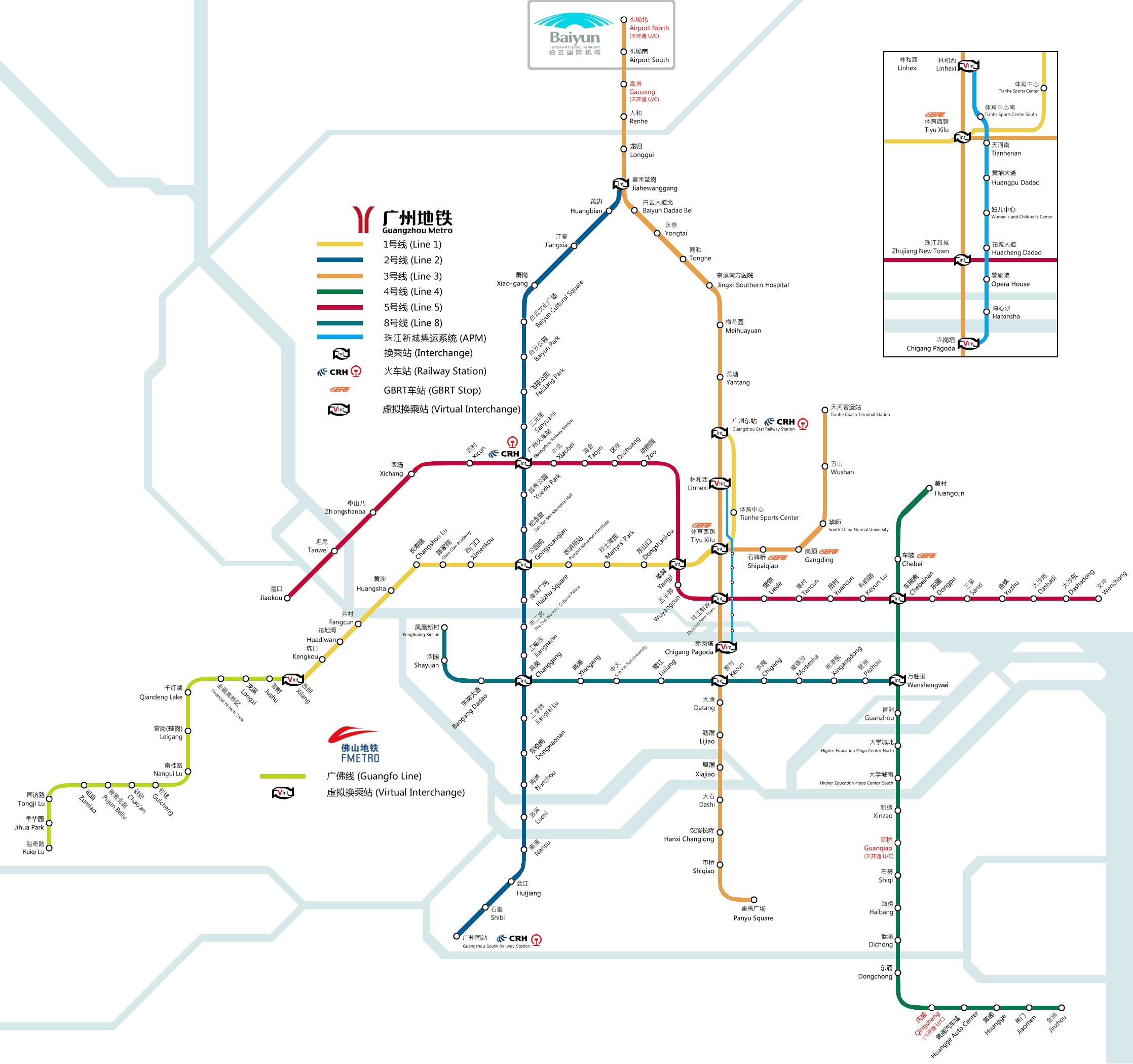 Mapa metro Guangzhou Canton