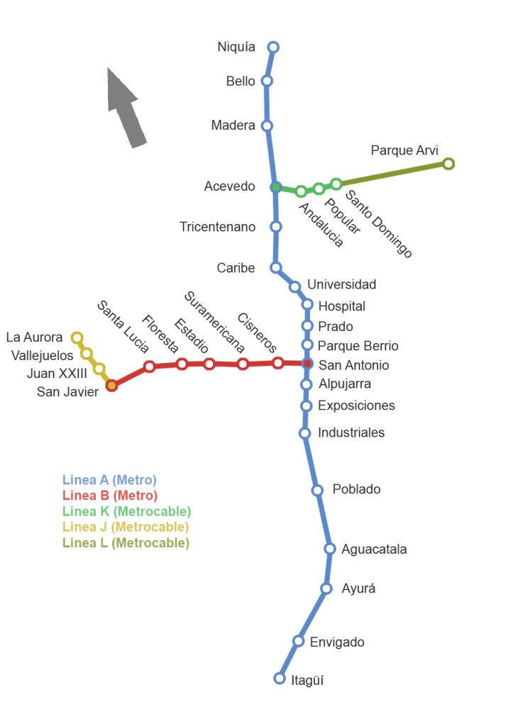 ميديلين خريطة المترو