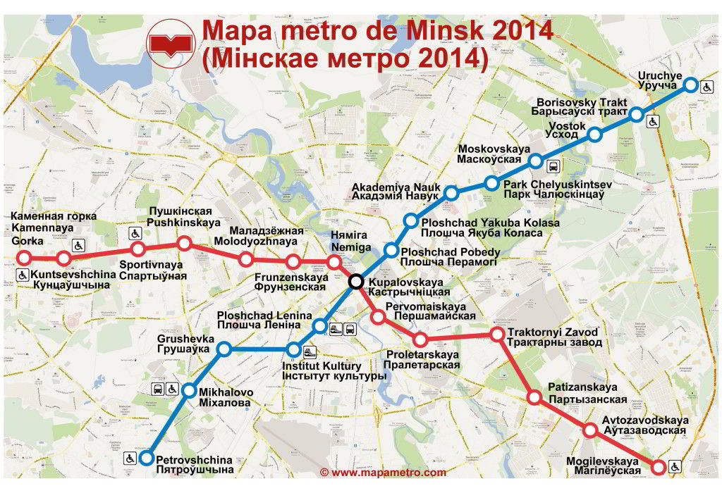 Mapa do metro de Minsk