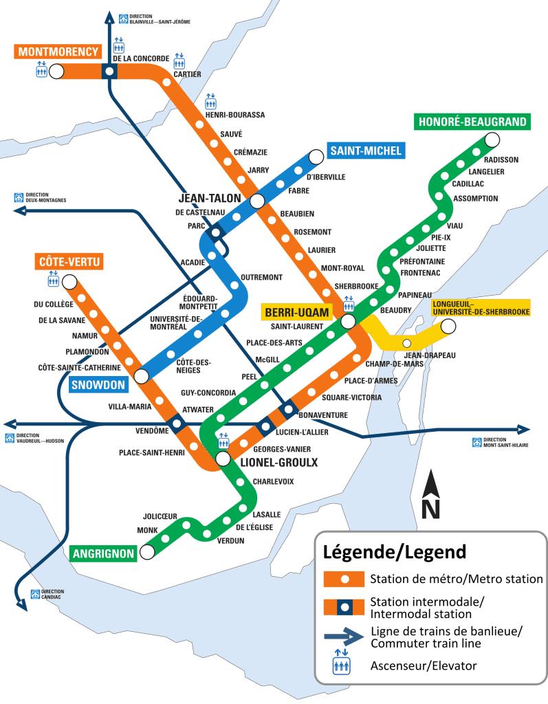 מפת הרכבת התחתית של מונטריאול