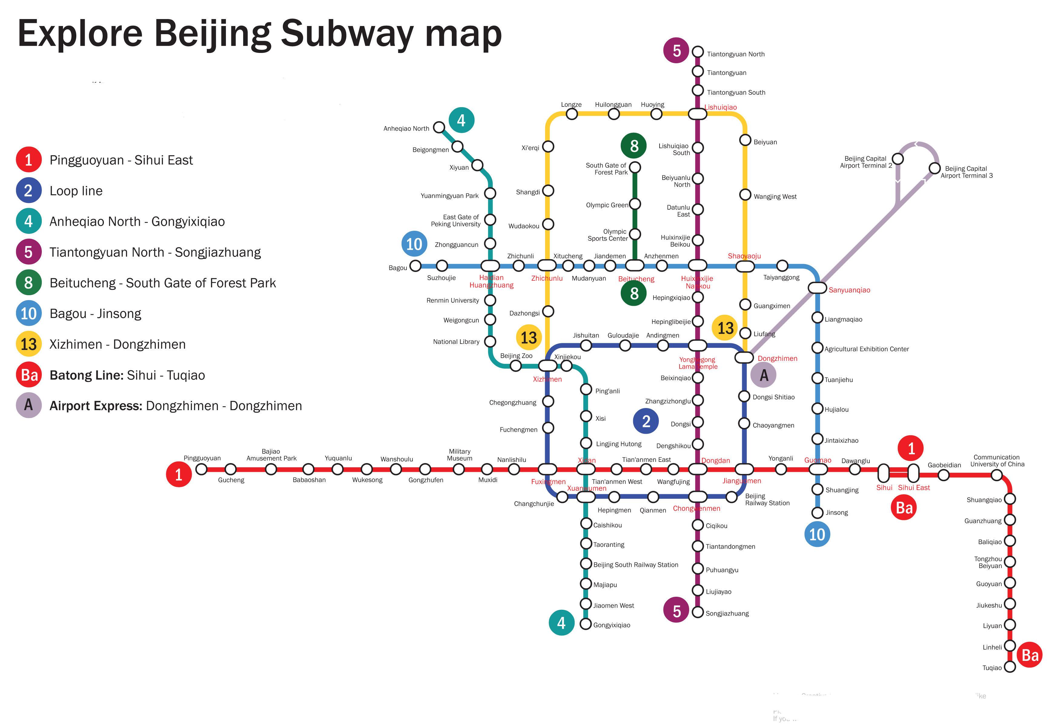 Kartta Peking Metro Pekin