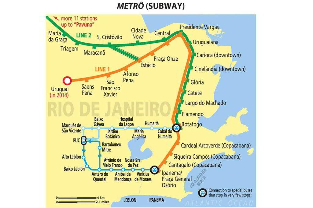 Rio de Janeiro metrokartta (Metro Rio)