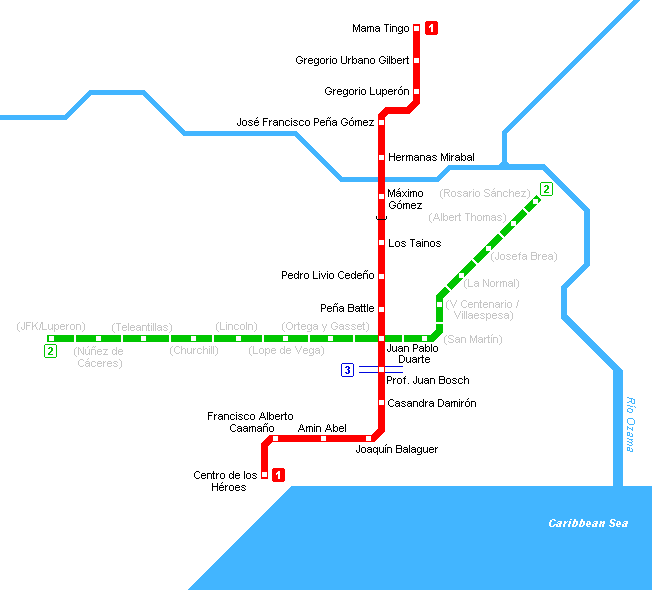 Santo Domingo metro kaart (Dominicaanse Republiek)