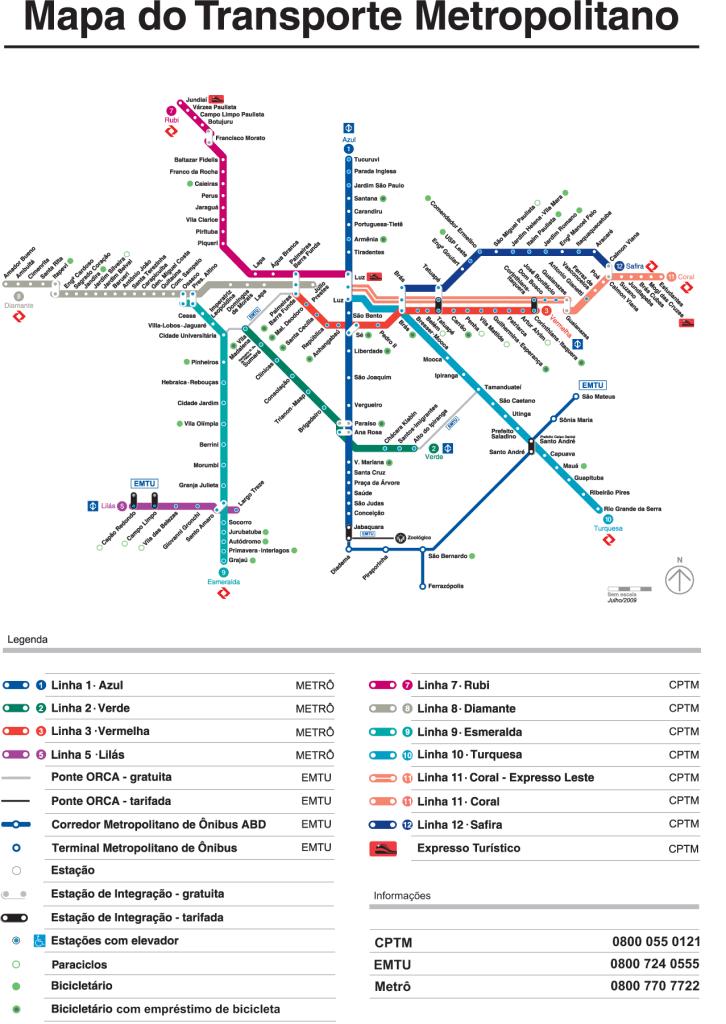 상 파울로의 지하철 노선도