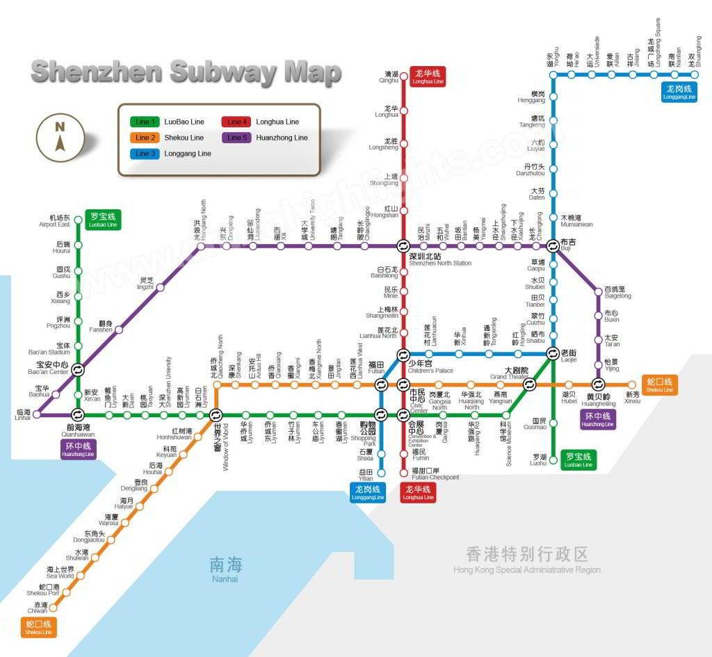 デ·深センの地下鉄マップ