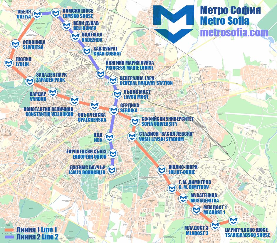 Mapa metrô de Sofia