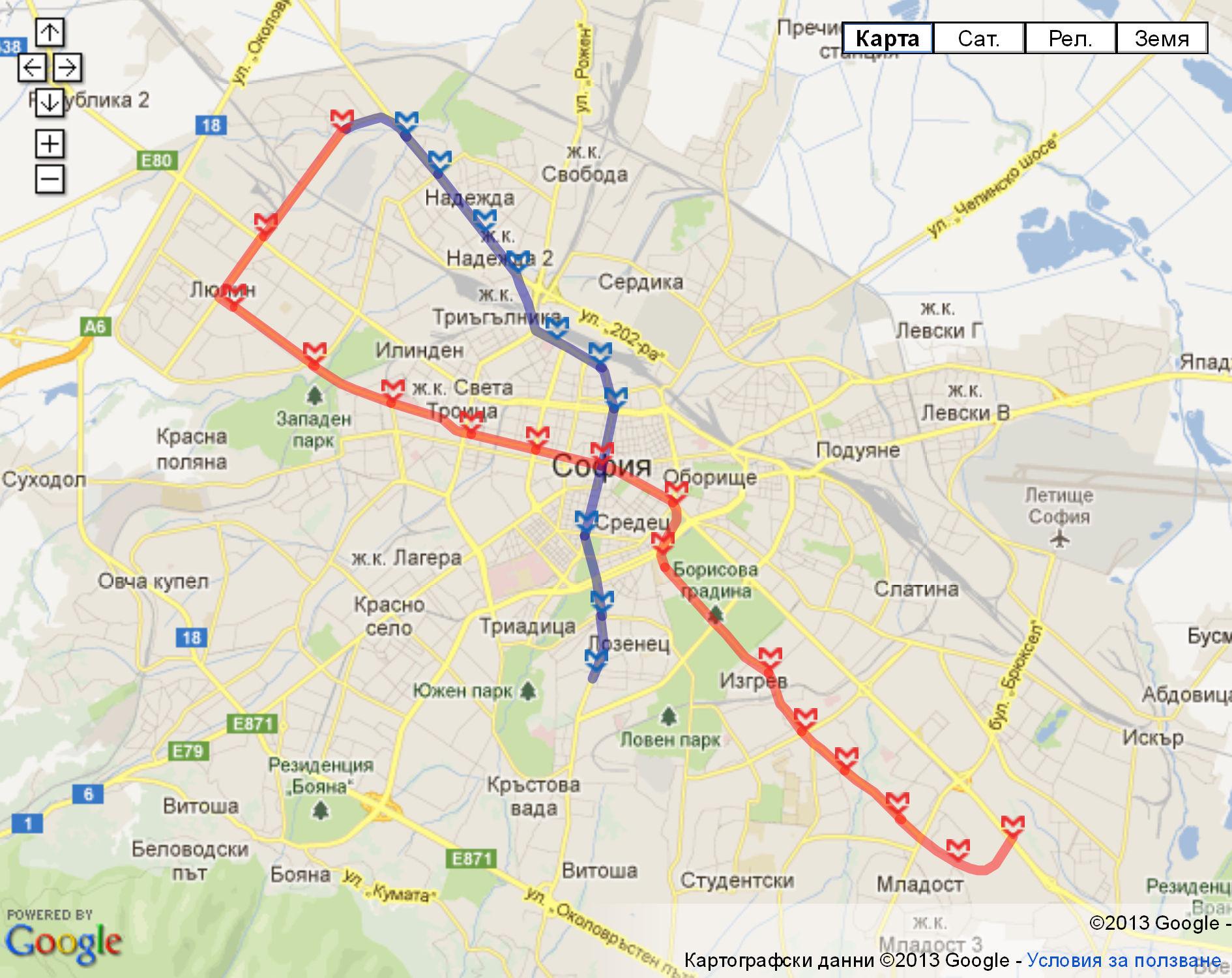 Sofia Subway Map.Map Of Sofia Metro