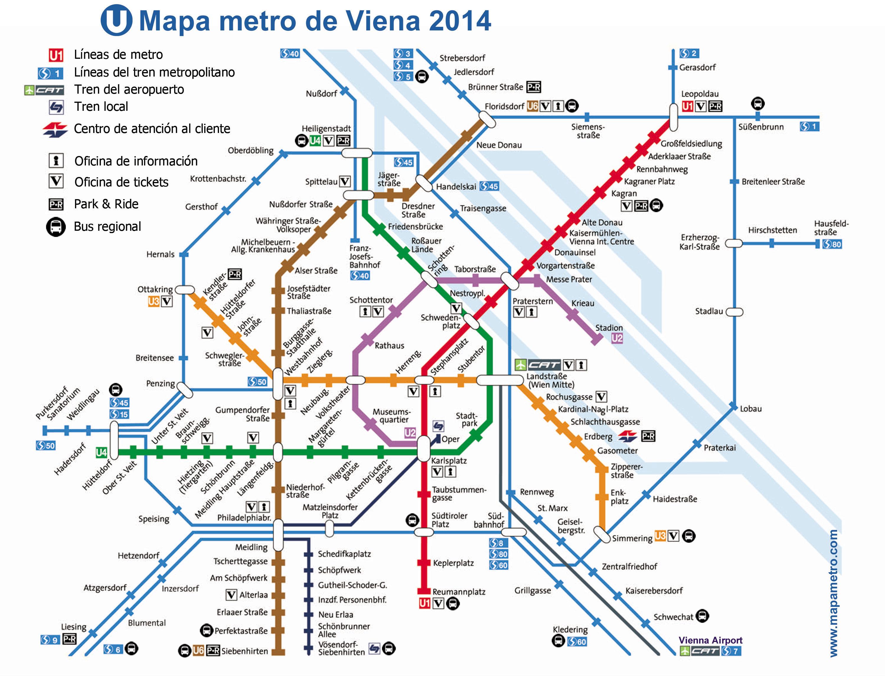 viena mapa Map meter of Vienna (Vienna U Bahn) (Austria) viena mapa