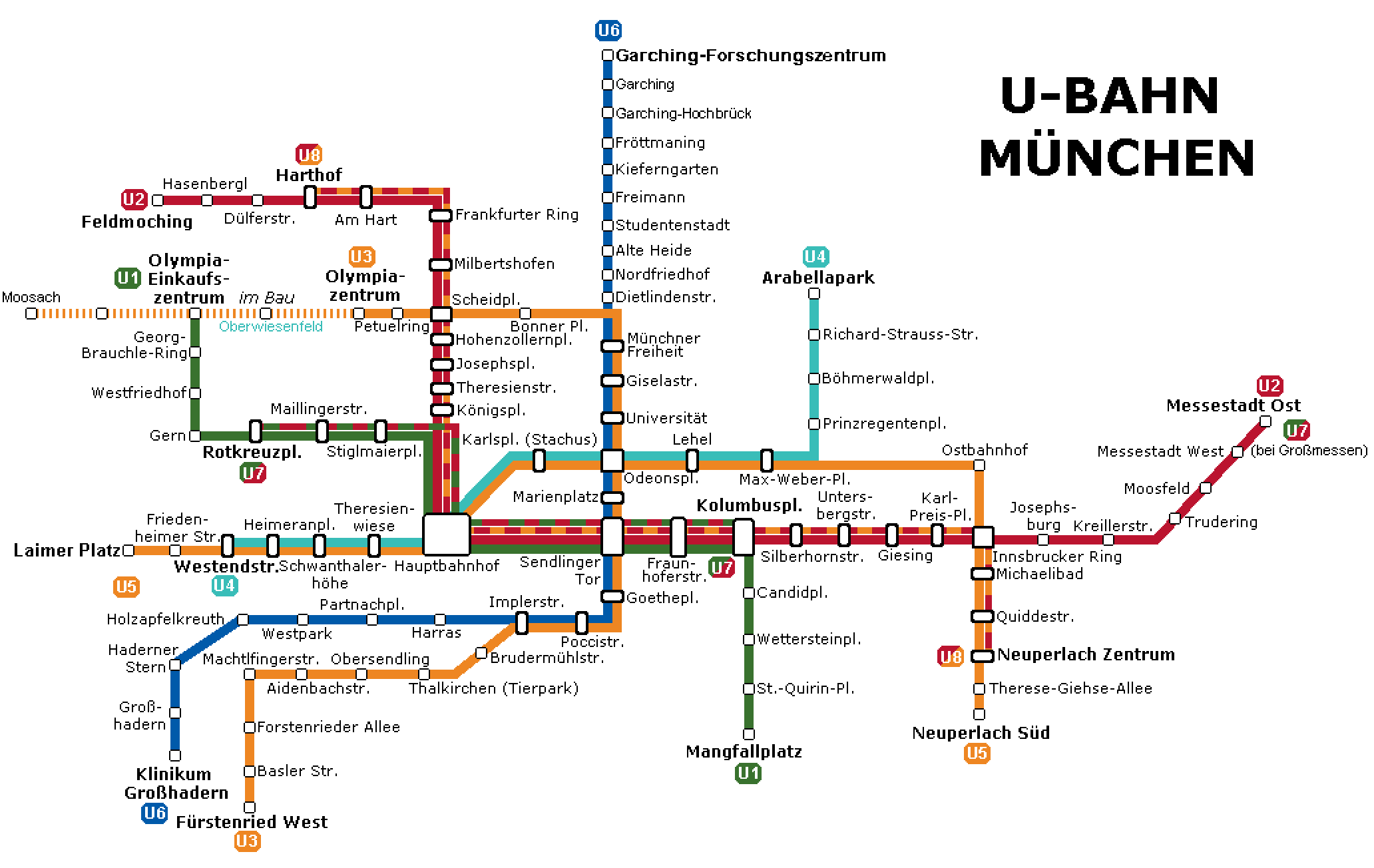 Munich Subway Map.Munich Subway Map Munich U Bahn Mapa Metro