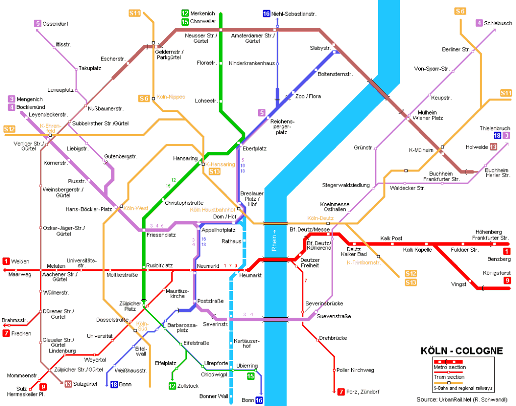 Mapa metro Colonia Cologne 1