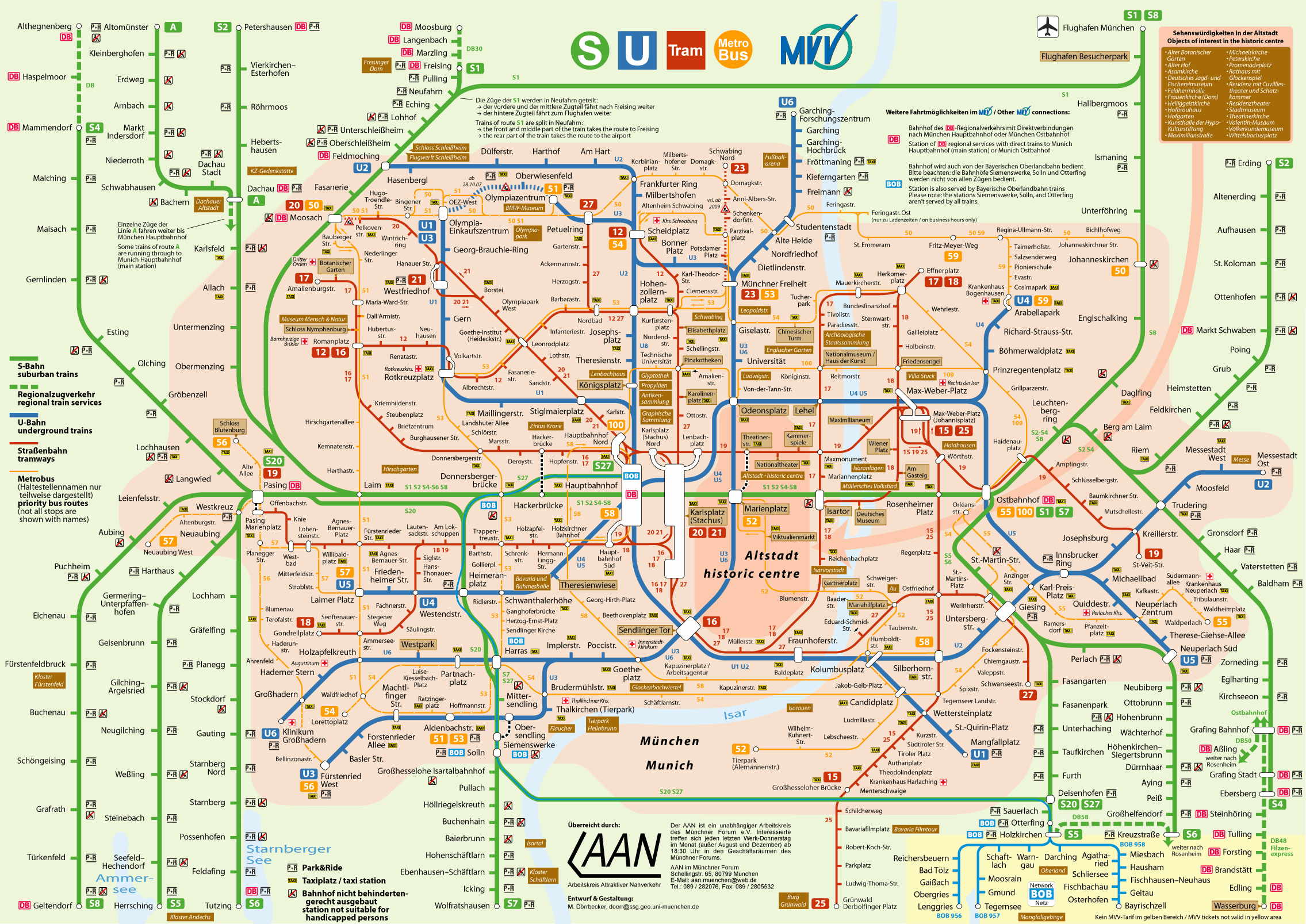 Munich subway map (Munich U-Bahn) - Mapa Metro