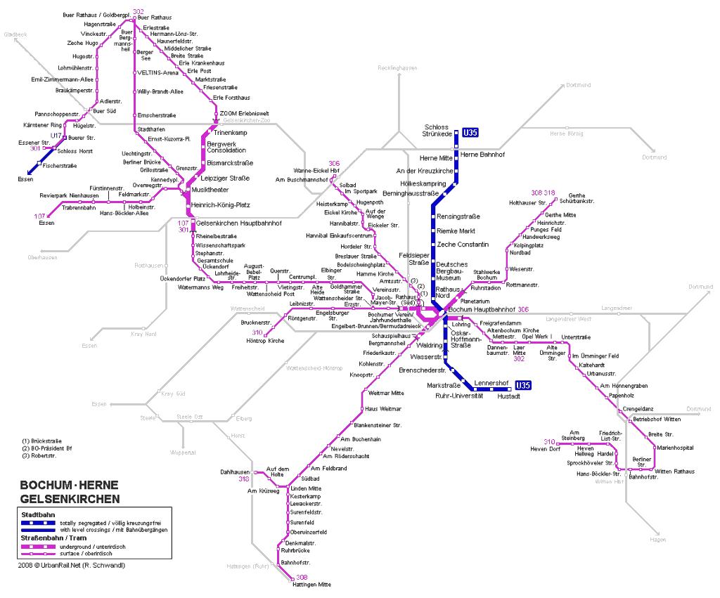 Mapa metro Bochum 2