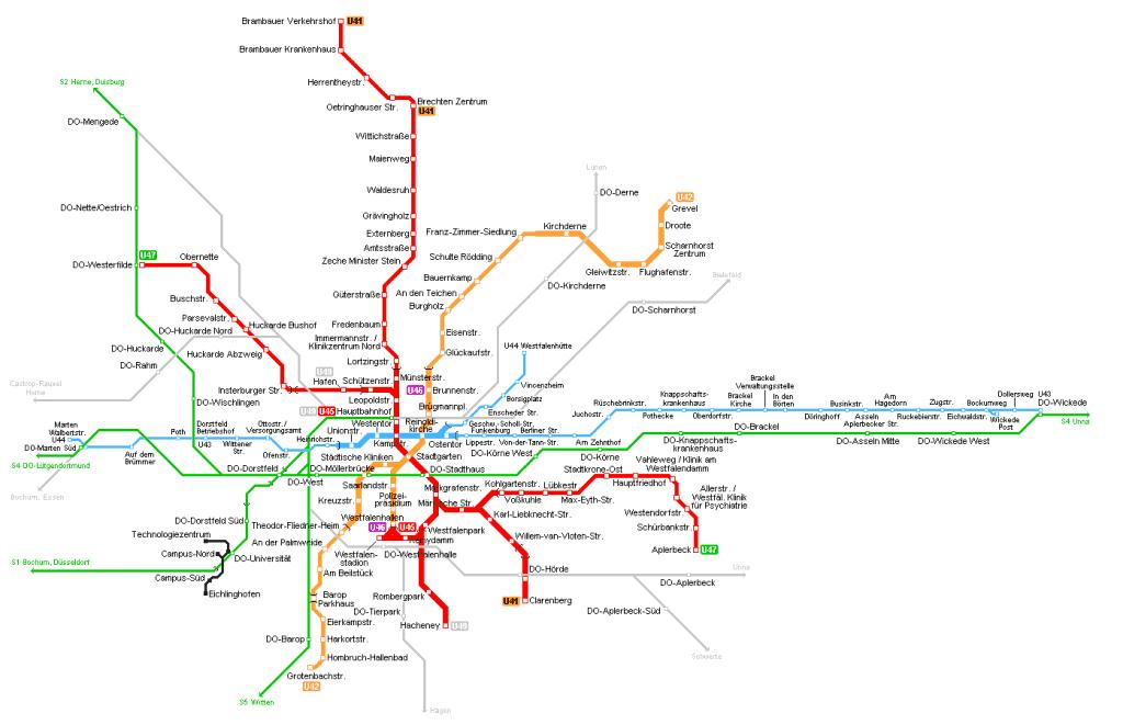 Mapa metro Dortmund 1