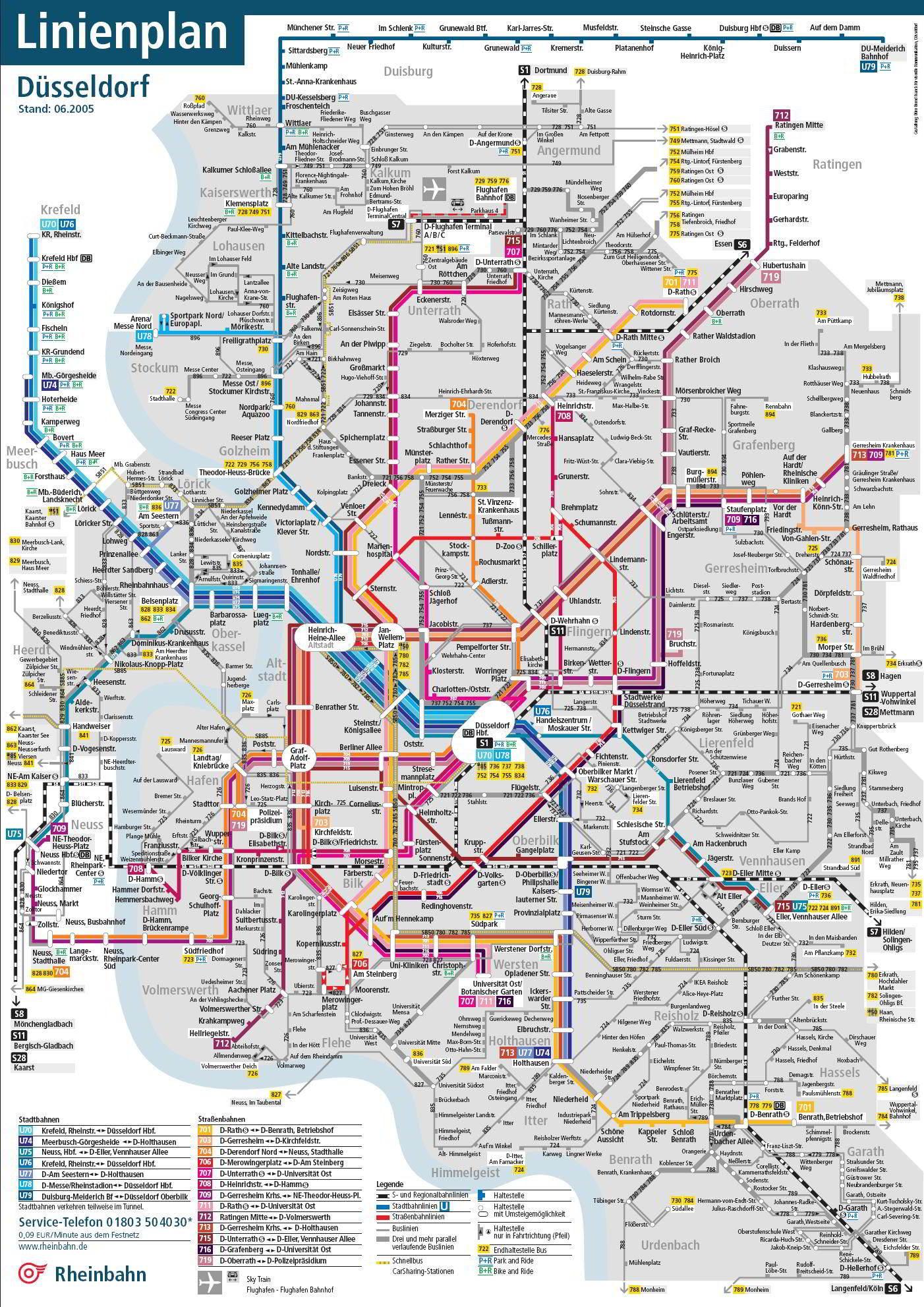 Map meters Dusseldorf (Duesseldorf metro) - Mapa Metro